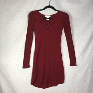 Planet Gold Maroon/Red  Long Sleeve Dress